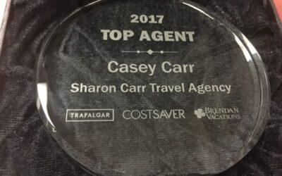 Casey Carr wins Trafalgar Tours Top Agent of 2017